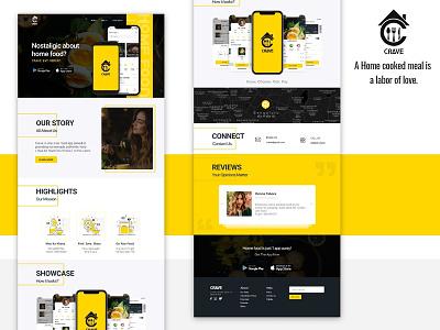 Crave Website food app ui ux design ui ux app landing page website ui design illustration