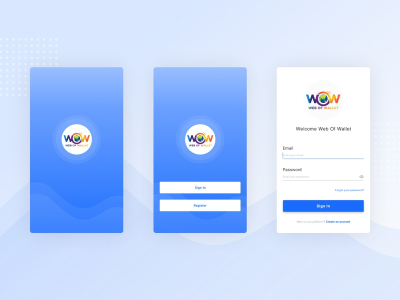 WOW Wallet App - Login Screen payment payments payment app mobile ui mobile app design mobile design splash page splash screen login design login screen login page ui uxdesign ui design mobile app wallet wallets walletapp wallet ui wow