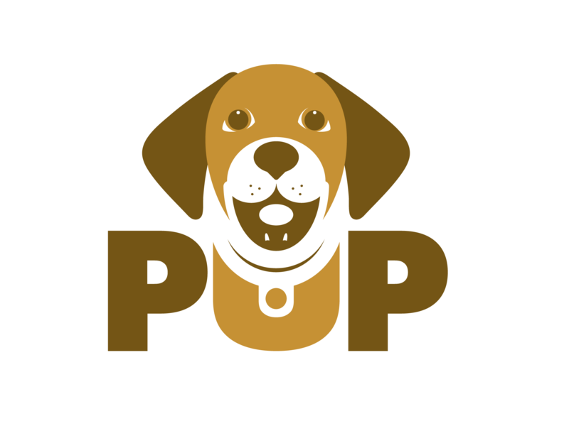 PUP Logo negative space dog logo branding puppy logo