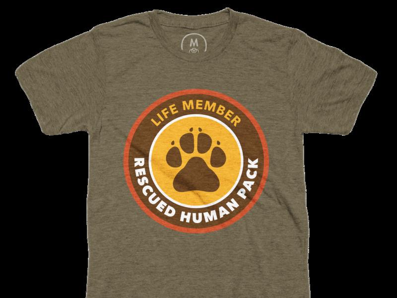 Rescued Human Pack, Life Member Tee logo badge illustration paw print paw rescue dog dog design t-shirt tee