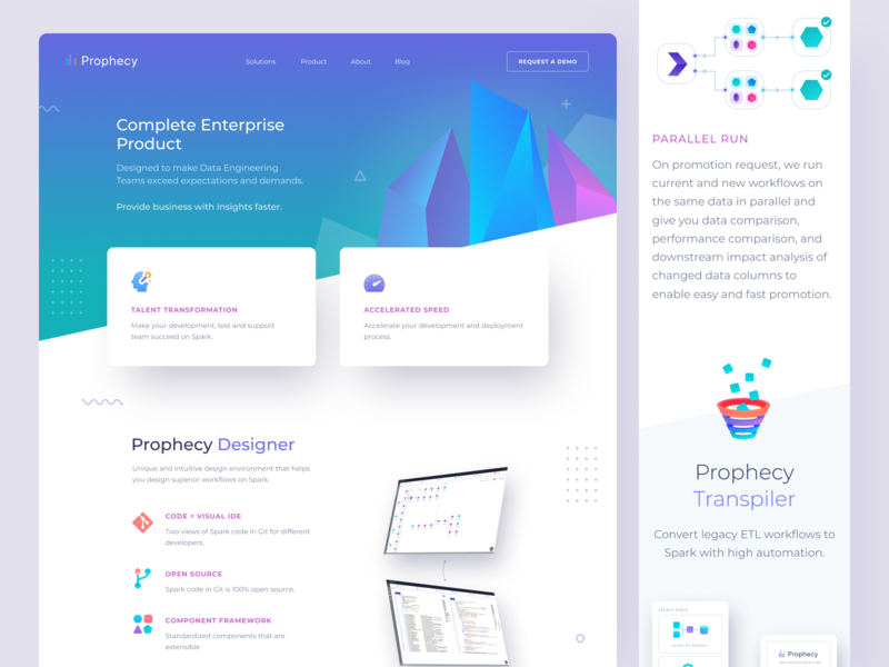 Prophecy Product Page devops cloud computing gradient webdesign bold platform ui ux infographics landing page saas workflow insights apache spark ai big data uxdesign uidesign website