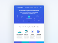 Manufacturing for Crowdfunders Landing Page Design
