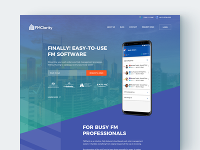 FMClarity Website building ux ui material facility management landing page website app saas
