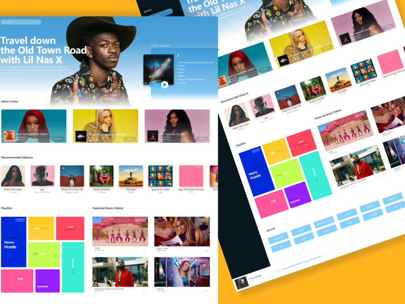 Music Streaming web design ux ui colorful music player streaming music