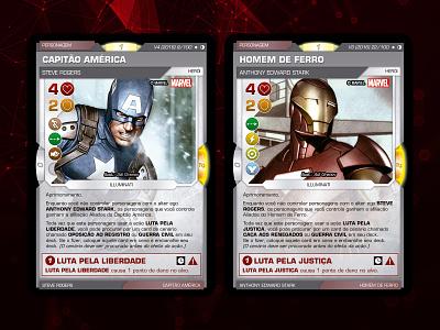 Marvel Trading Card Game iron man captain america illustration vector icon trading card game battle scenes avengers marvel product design
