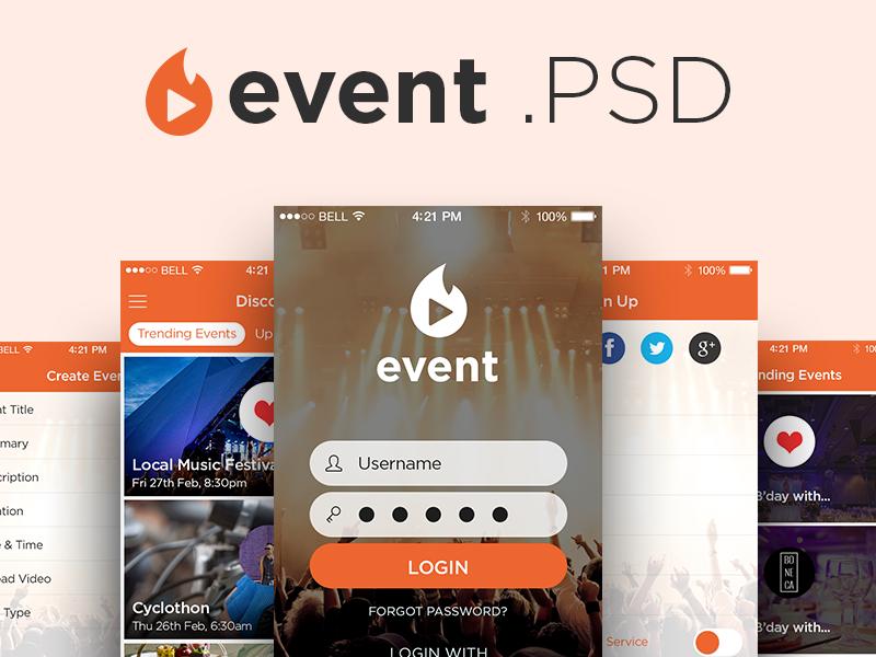 Freebie PSD: Event App UI Kit kit ui interface login mobile ios design photoshop source freebie psd app