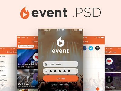 Freebie PSD: Event App UI Kit kit ui interface login mobile ios design photoshop source freebie psd app