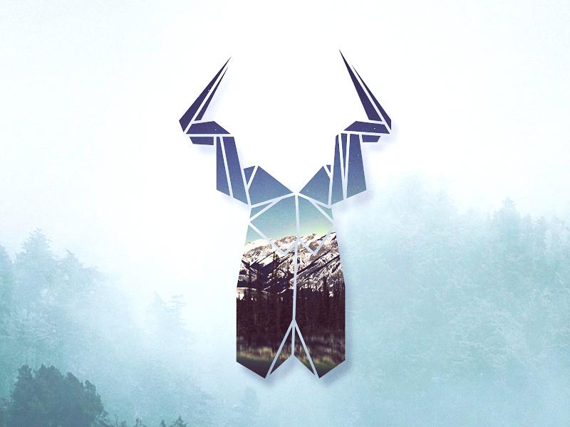 Origami Deer vector tree origami logo illustration graphic forest deer design color art animal