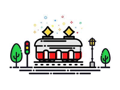 Tram vector nature logo landscape illustration train icon graphics drawing design color tram