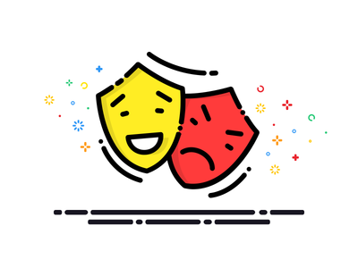 Comedy & Tragedy vector tragedy emoticons face logo comedy illustration icon graphics drawing design color