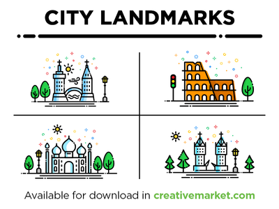 City Landmarks Set1 skyline building art drawing landmarks icon line logo graphics illustration city