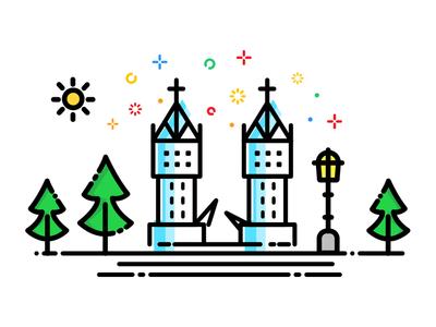 Tower Bridge in Day skyline building art drawing landmarks icon line logo graphics illustration city