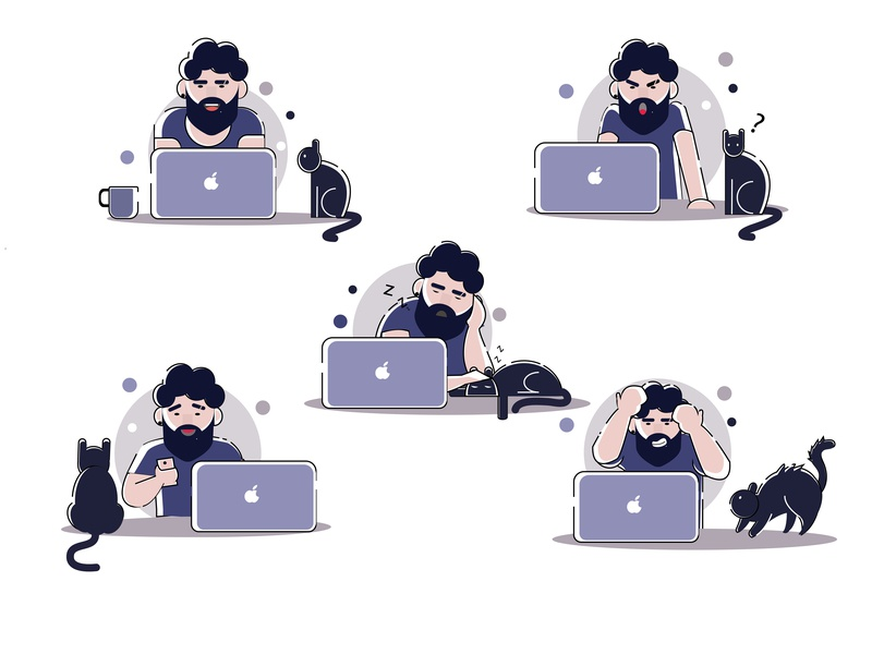Man During Work cat graphic design character sketching graphic deisgn target illustration