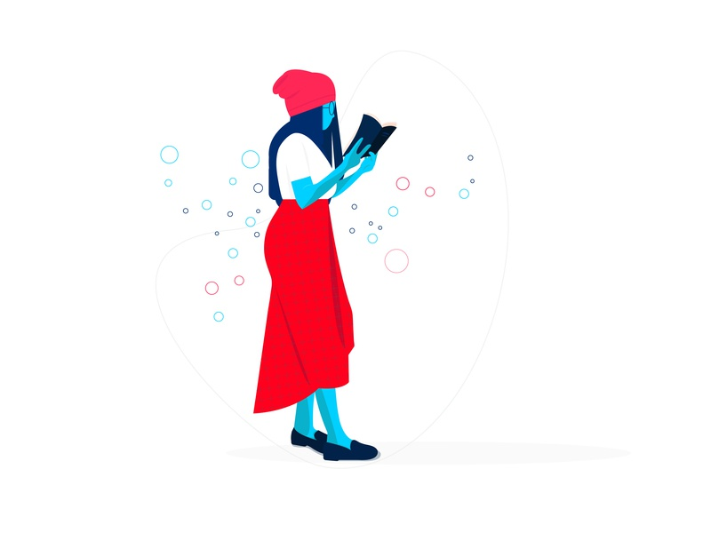 Reader sketching target dribbble graphic deisgn illustration girl character book girl reach read