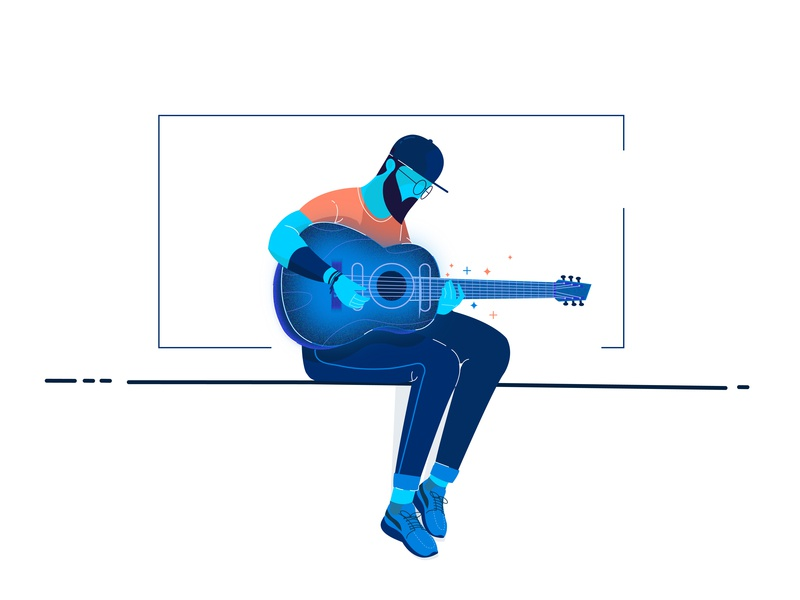 Man with guitar sketching target dribbble designing guitar music graphic deisgn character illustration