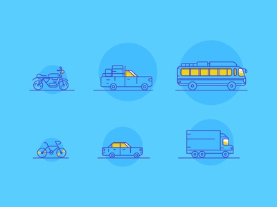 Transport Line icons transport icons travel blue and yellow icon graphic deisgn designing dribbble target illustration transport