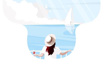 Summer vacation sea vacation summer target dribbble landscape illustration landscape girl illustration sketching character graphic deisgn illustration