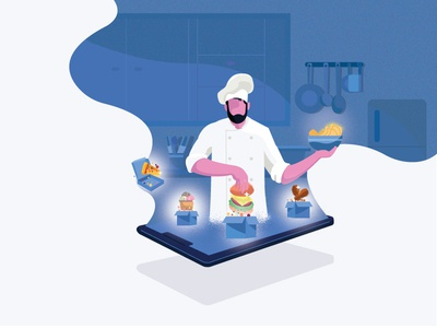 Chef food app chef kitchen online food design dribbble character illustration graphic deisgn food