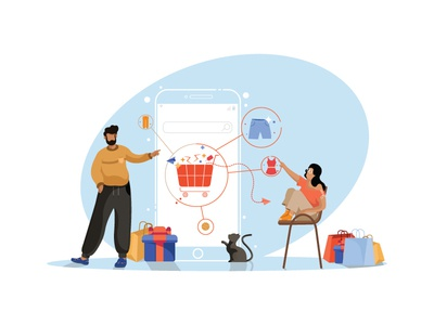 Online Shopping clothes cat ecommerce boy online shopping shopping character vector girl character designing target dribbble illustration graphic deisgn