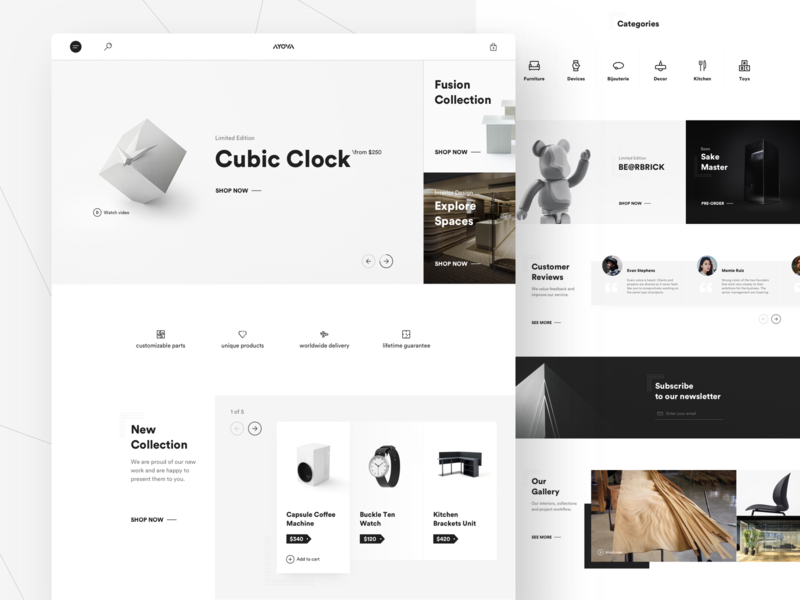 AYOVA E–Commerce Website web web design ux ui store shop minimal product page ecommerce clean ui conceptual branding