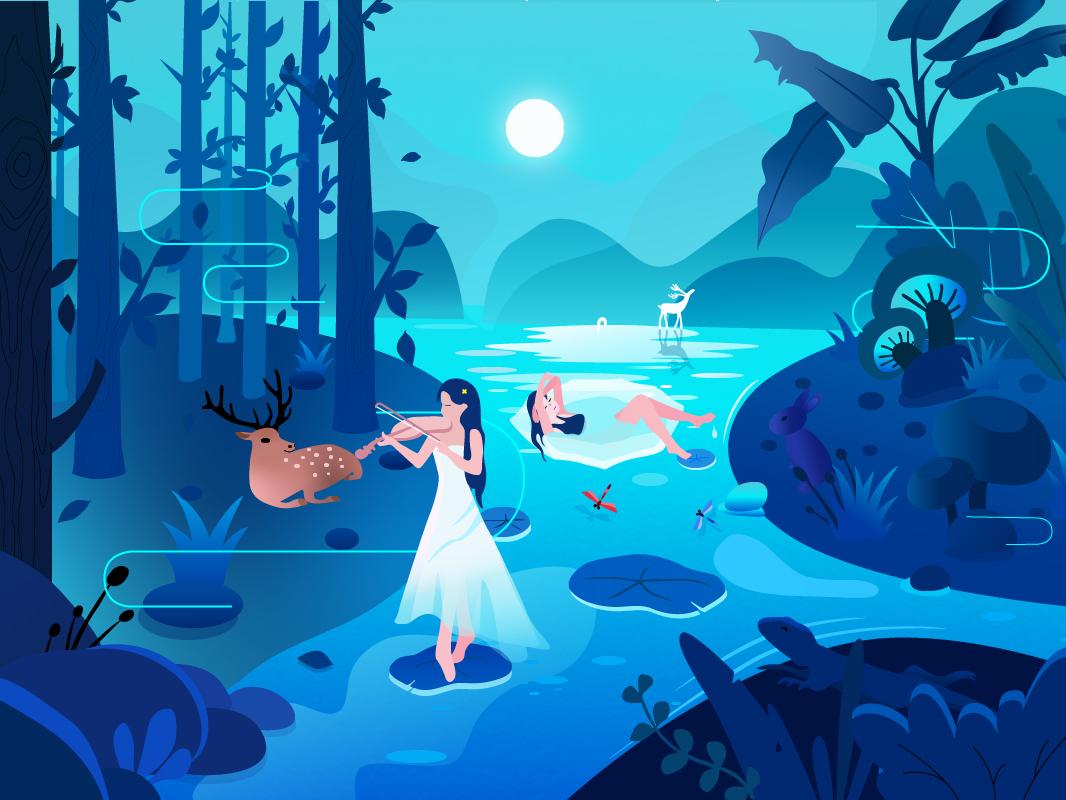 music and nature 向量 插画 插图