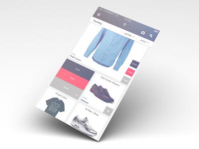 WIP fashion site screen white texture ios7 red ui app application iphone interface ios mac ux fashion blurred