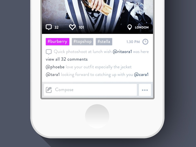 Little details - ootd photo screen ui app interface iphone ux flat ios7 redesign photo sharing