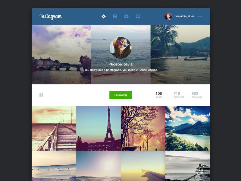 Instagram Web Concept web concept redesign flat social instagram ui mac app avatar photos sharing