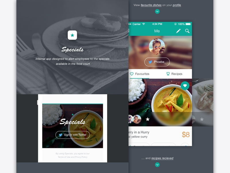 Daily Specials app project ui app interface ios7 social food recipe favourites