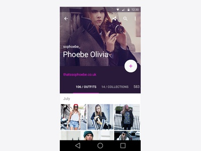 Ootd Material Design ui ux android profile layout material design fashion guidelines l