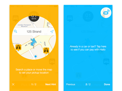 Hailo hints homescreen ios coachmarks tips hints taxi app ux ui