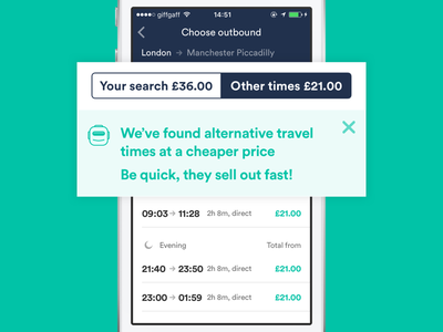 Cheaper tickets using the power of the crowd! ui ux train travel price feed flow ios cells segement control crowd source real product