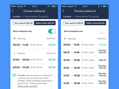 Displaying the cheapest tickets + full day results times price tickets day view segment control tabs feed trainline trains ux ui