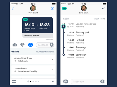 TL iMessage app - share and track your train messages timeline travel ui ux trainline train ios10 imessage