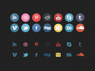 'Old School' Social Icon Set interface ui set icon app application facebook twitter dribble pinterest free download socialicons social web button viemo tumblr email behance soundcloud skype youtube