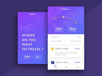 Google Flights Concept Design  travel flights app design ui design uiux harshad google flights