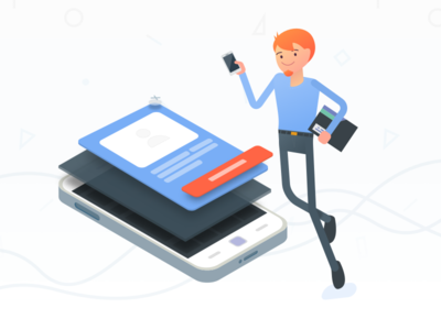 isometric mobile illustration