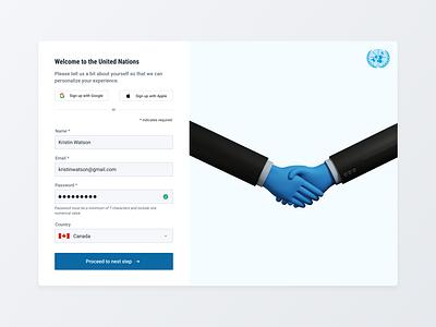UN Sign up Flow interests buttons website flow password input field create account form sign up icon ux web ui design