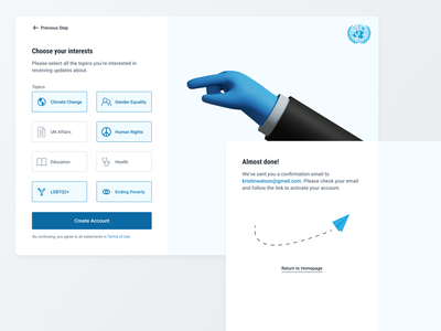 UN Sign Up Flow choice illustrations ui ux sign up password interests input field icon form flow design create account buttons