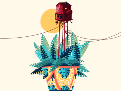 Red House on a Fern Pot