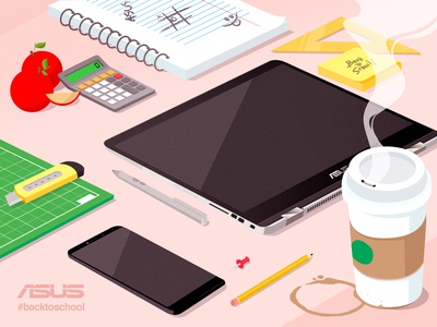 ASUS Back to School perspective flat isometric vector illustration
