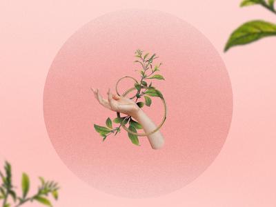 Spring hand design vintage pink illustration