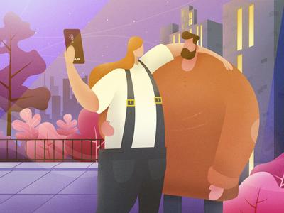 Night selfie illustration photoshop vector illustrator cellphone asus trendy characters character design trends