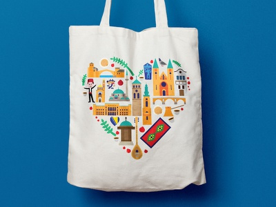 Bosnia and Herzegovina - Souvenir Bag souvenirs bag bosnia illustration illustrator