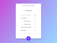 Simple To Do List App UI Concent