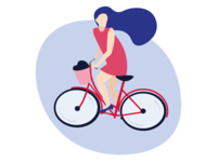 Flat Illustration - Girl on a Bicycle