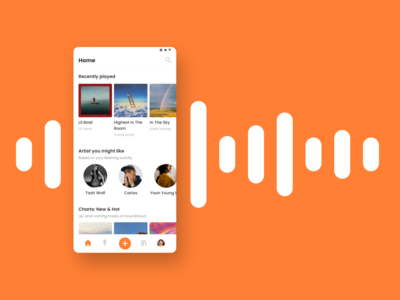 Soundcloud Mobile App - Menu Bar Redesign navbar menu redesign soundcloud ui design mobile app app design ui