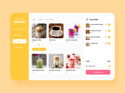 nampaan - food menu concept pink yellow menu food ux ui design design app ui