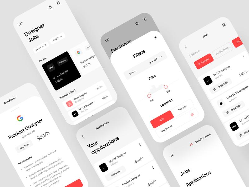 Job Finder App job finder nike uber white app ui ux minimalism jobs list applications jobs filters job app ios app freelance design job designer jobs app design app concept mobile app