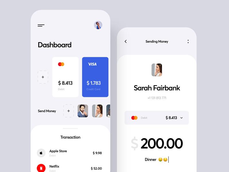 Mobile Banking App ios 2020 business card card inspiration credit card ux ui finance bank app dashboard bank transaction cost budget finance app transfer app sending money banking app mobile app